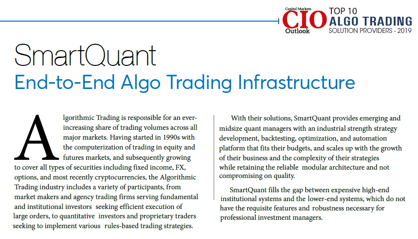SmartQuant named top ten algo trading providers CIO Outlook